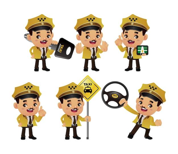 Conjunto de pessoas - profissão - motorista de táxi