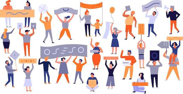 Conjunto de pessoas protestando, adultos e crianças