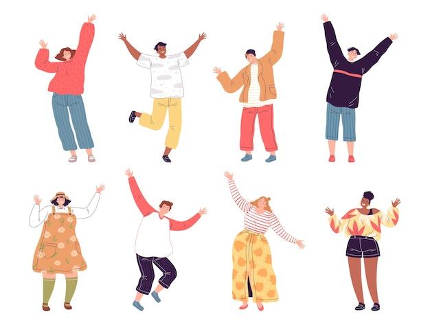 Conjunto de pessoas que acenam com as mãos. rapazes e moças riem e levantam as mãos em alegria e saudação. personagens isolados em um fundo branco. flat cartoon