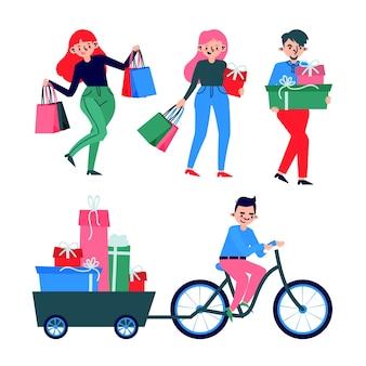 Conjunto de pessoas que compram presentes de natal