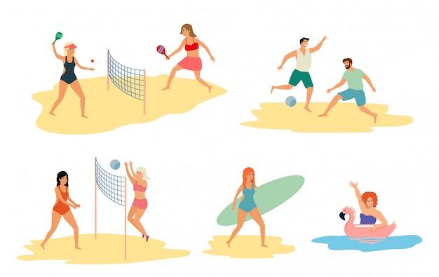 Conjunto de pessoas que realizam atividades de verão e atividades ao ar livre de lazer na praia, no mar ou oceano - jogando jogos, surfando, nadando no mar. ilustração colorida plana dos desenhos animados.