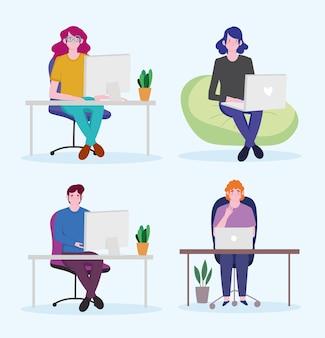 Conjunto de pessoas que trabalham, homem e mulher com laptop trabalhando no espaço de trabalho