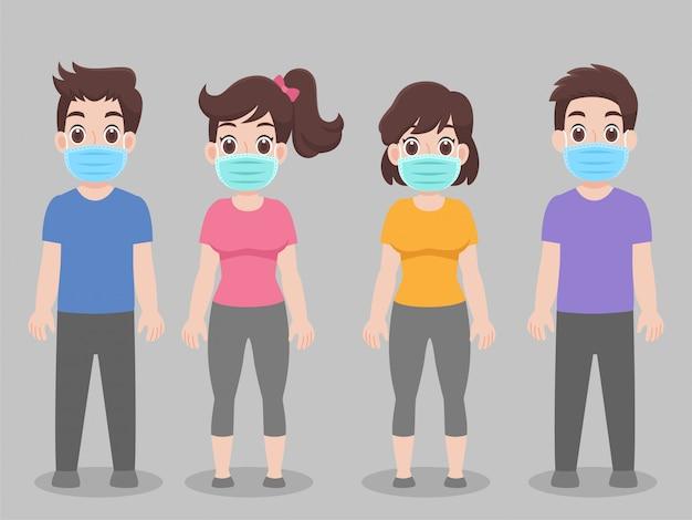 Conjunto de pessoas que usam máscara médica protetora para prevenir vírus