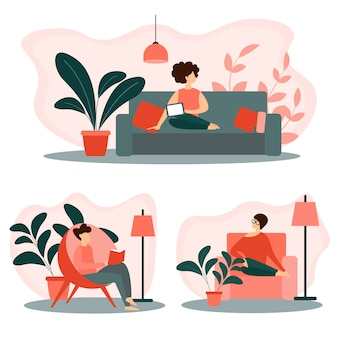 Conjunto de pessoas relaxando em casa. lazer, tempo livre