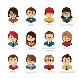 Conjunto de pessoas rodada avatar sua equipe do escritório.