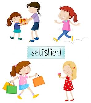Conjunto de pessoas satisfeitas