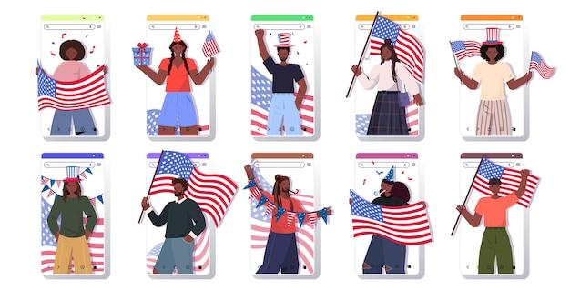 Conjunto de pessoas segurando bandeiras dos eua mistura raça homens mulheres comemorando, 4 de julho conjunto de telas para celular do dia da independência americana
