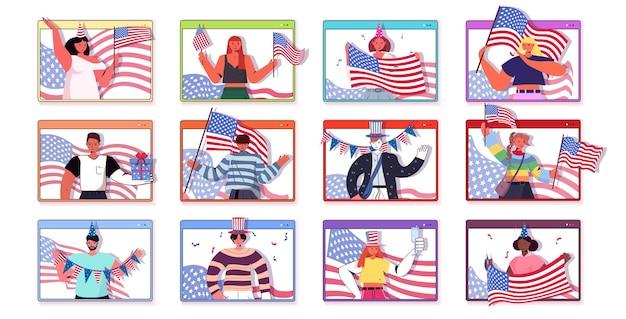 Conjunto de pessoas segurando bandeiras dos eua mistura raça homens mulheres comemorando, 4 de julho dia da independência americana coleção de janelas do navegador da web