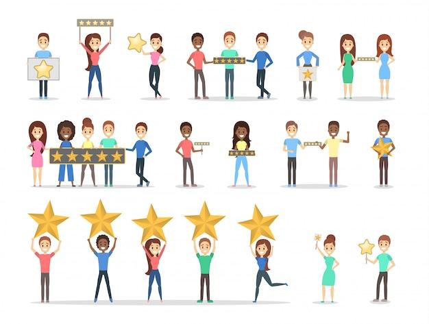 Conjunto de pessoas segurando cinco estrelas.