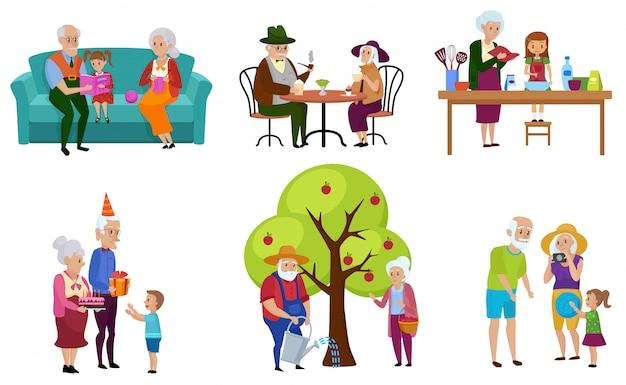 Conjunto de pessoas sênior isoladas e seus personagens de netos fazendo atividades.