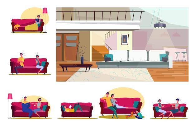 Conjunto de pessoas sentadas em sofás em várias posições