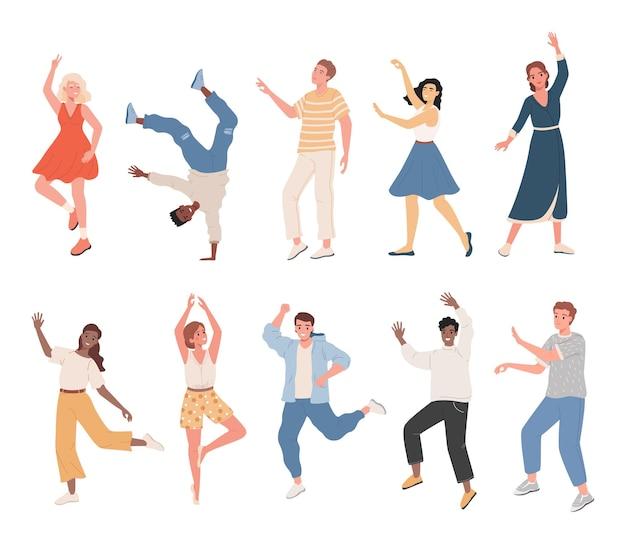 Conjunto de pessoas sorridentes em roupas casuais dançando, sentindo-se positivo