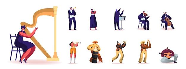 Conjunto de pessoas tocando instrumentos musicais diferentes