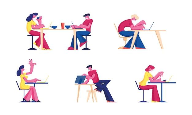 Conjunto de pessoas trabalhando em laptops no cafe.