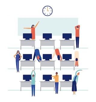 Conjunto de pessoas trabalhando no escritório e fazendo pausas ativas