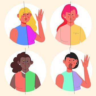 Conjunto de pessoas transexuais com design plano