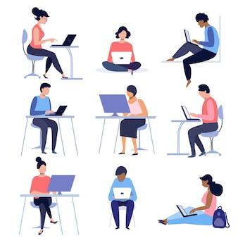 Conjunto de pessoas usando laptops e computadores trabalho à distância