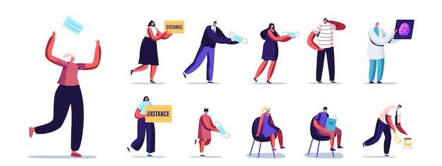 Conjunto de pessoas usando máscaras de médico. personagens masculinos e femininos durante a quarentena de coronavirus violam o regime de bloqueio, distância, vida covid isolada no fundo branco. ilustração em vetor de desenho animado