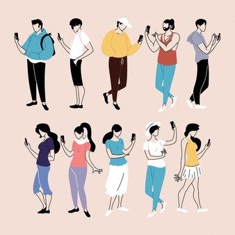 Conjunto de pessoas usando smartphone, homens e mulheres com dispositivos móveis