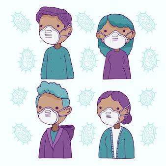 Conjunto de pessoas vestindo máscaras médicas