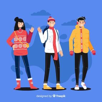 Conjunto de pessoas vestindo roupas de inverno