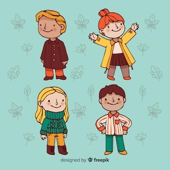 Conjunto de pessoas vestindo roupas de outono