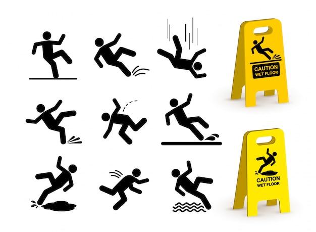 Conjunto de pictograma de silhueta de pessoa caindo.
