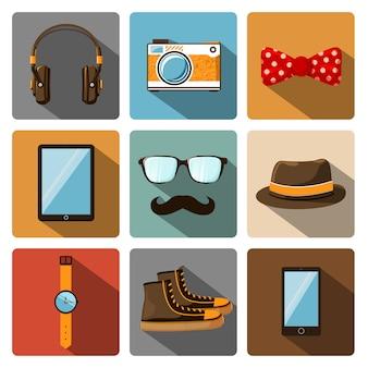 Conjunto de pictogramas de acessórios hipster