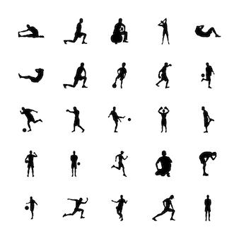 Conjunto de pictogramas de silhuetas de exercício fitness