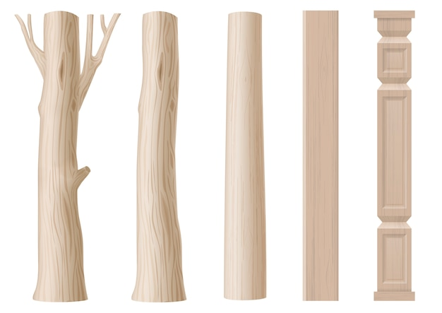 Conjunto de pilares de madeira
