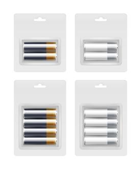 Conjunto de pilhas alcalinas aa embaladas em blister