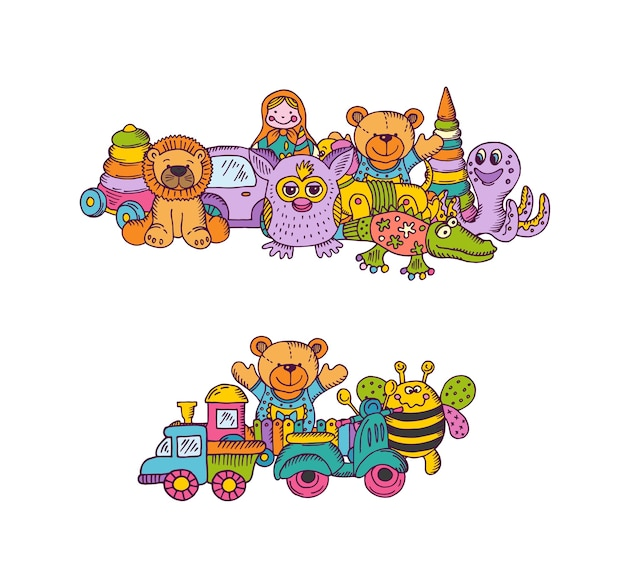 Conjunto de pilhas de brinquedos de criança grande desenhado à mão e colorido isolado no fundo branco. ilustração de criança de brinquedo para brincar, desenho de urso e pirâmide
