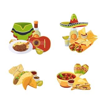 Conjunto de pilhas de comida mexicana dos desenhos animados isolado no branco