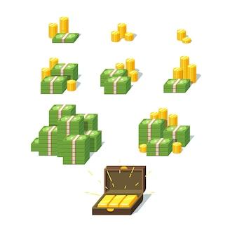Conjunto de pilhas de dinheiro