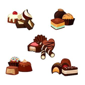 Conjunto de pilhas de doces de chocolate dos desenhos animados isolado no branco