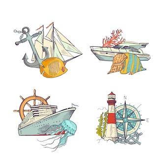 Conjunto de pilhas de elementos coloridos de mar esboçado