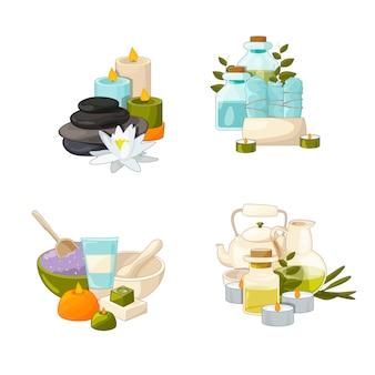 Conjunto de pilhas de elementos de beleza e spa dos desenhos animados