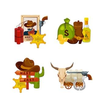 Conjunto de pilhas de elementos do oeste selvagem dos desenhos animados isolado na ilustração branca