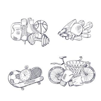 Conjunto de pilhas de equipamento desportivo de mão desenhada.
