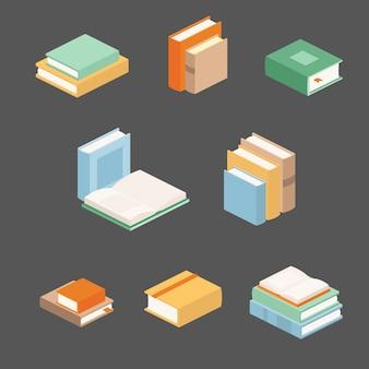 Conjunto de pilhas de livros em isométrico