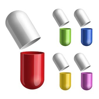 Conjunto de pílulas aberto ao meio. ilustração