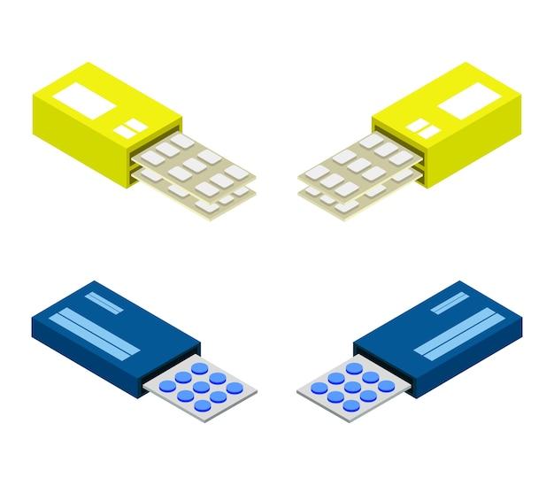 Conjunto de pílulas cobiças isométricas