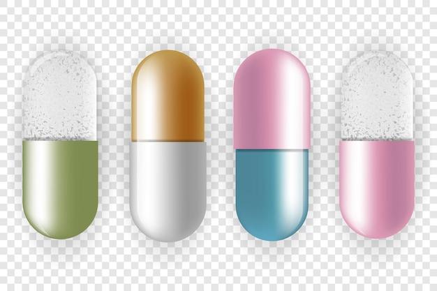 Conjunto de pílulas coloridas e comprimidos em fundo transparente. medicamentos.