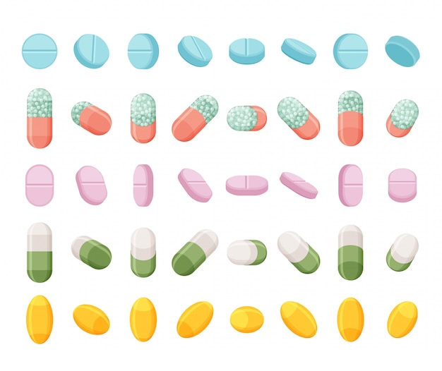 Conjunto de pílulas, comprimidos e cápsulas realistas. drogas isométricas. sobre fundo branco.