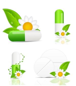 Conjunto de pílulas de ervas