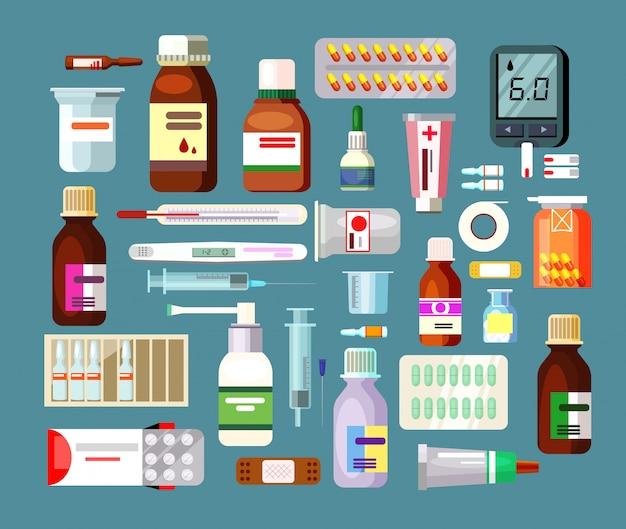 Conjunto de pílulas e suspensões em garrafas