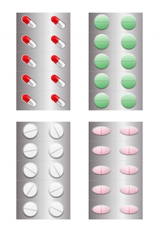 Conjunto de pílulas realistas em blister.