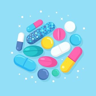 Conjunto de pílulas, remédios, drogas. conceito de saúde