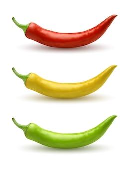 Conjunto de pimenta malagueta vermelha amarela e verde. ilustração em vetor realista isolada no branco