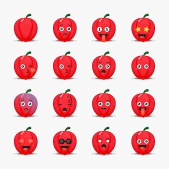 Conjunto de pimentão fofo com emoticons